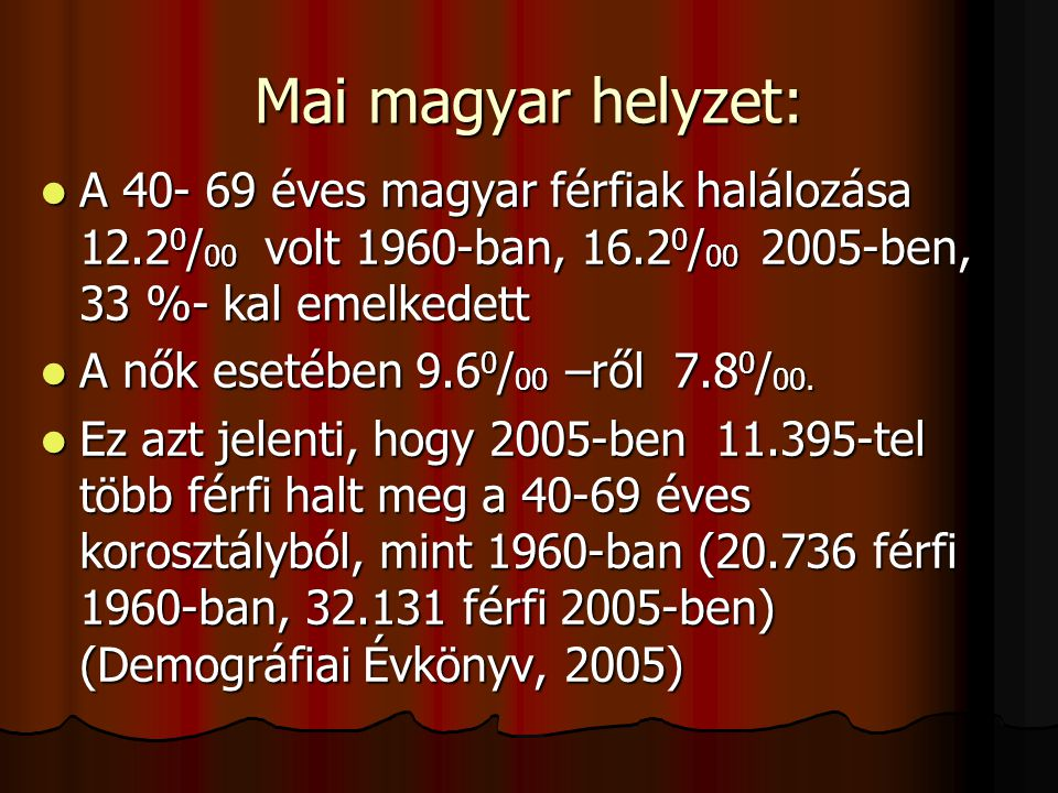 Mai magyar helyzet: A 40- 69 éves magyar férfiak halálozása 12.20/00 volt 1960-ban, 16.20/00 2005-ben, 33 %- kal emelkedett.