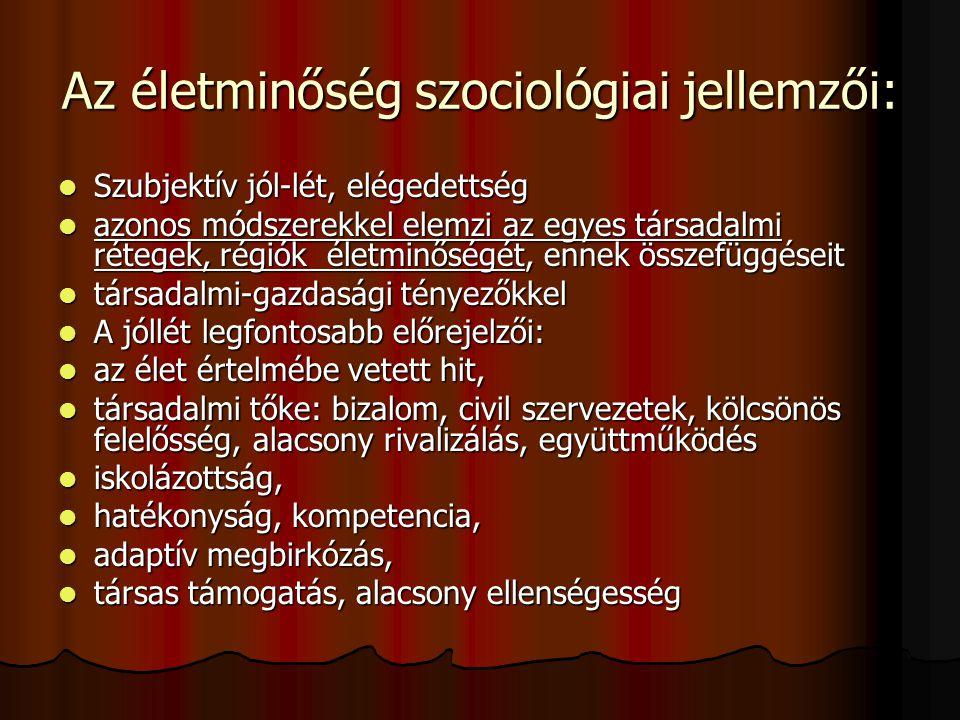 Az életminőség szociológiai jellemzői: