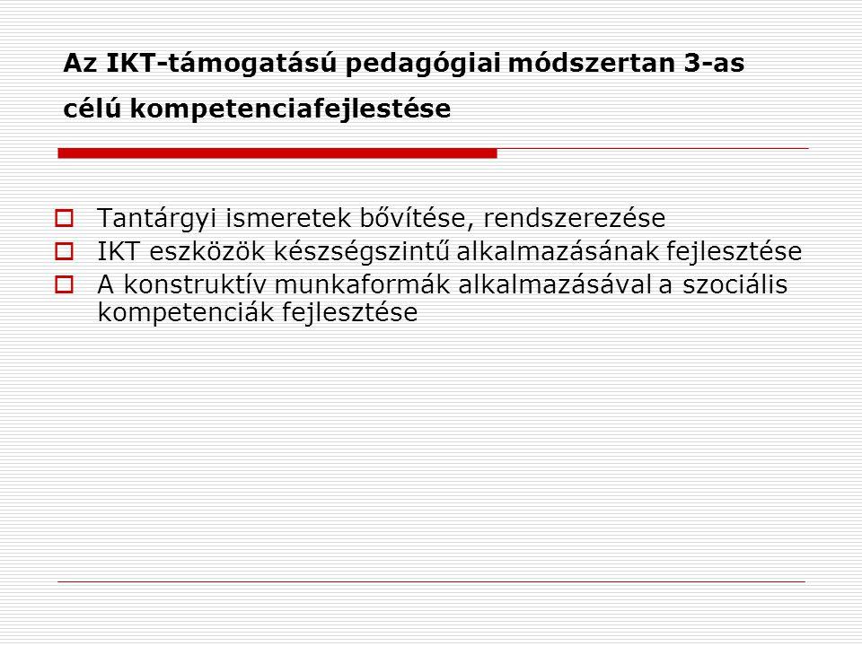Az IKT-támogatású pedagógiai módszertan 3-as célú kompetenciafejlestése