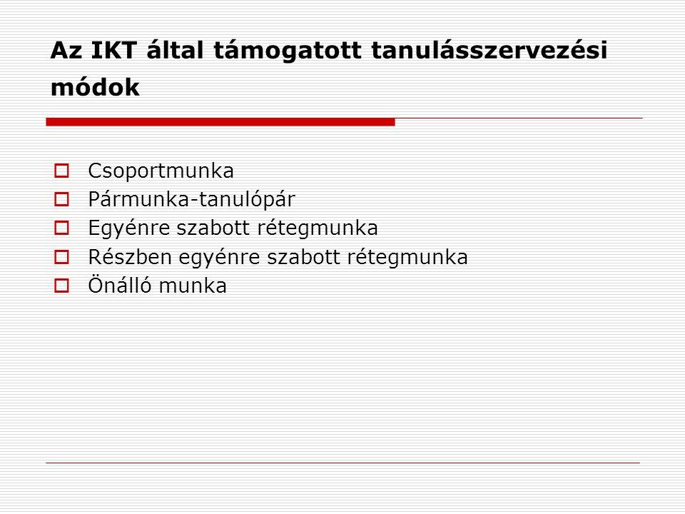 Az IKT által támogatott tanulásszervezési módok