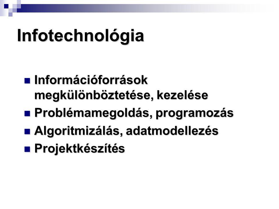 Infotechnológia Információforrások megkülönböztetése, kezelése