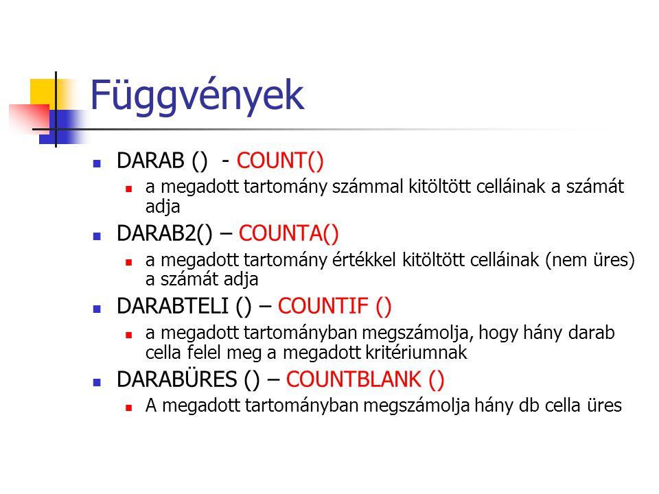 Függvények DARAB () - COUNT() DARAB2() – COUNTA()