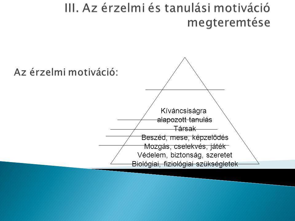 III. Az érzelmi és tanulási motiváció megteremtése