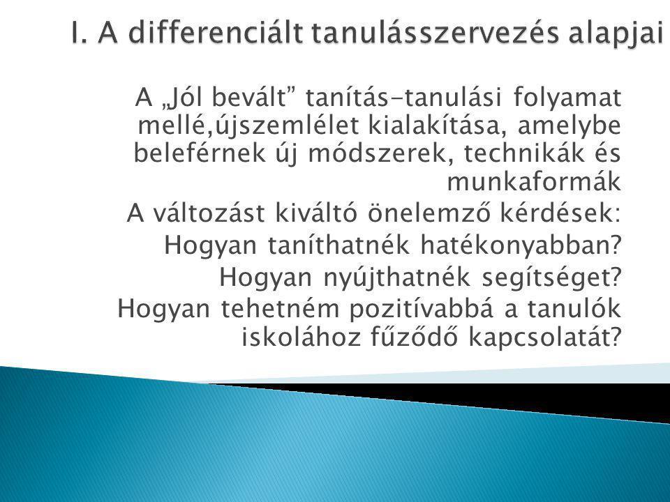 I. A differenciált tanulásszervezés alapjai