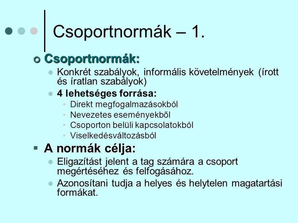 Csoportnormák – 1. Csoportnormák: A normák célja: