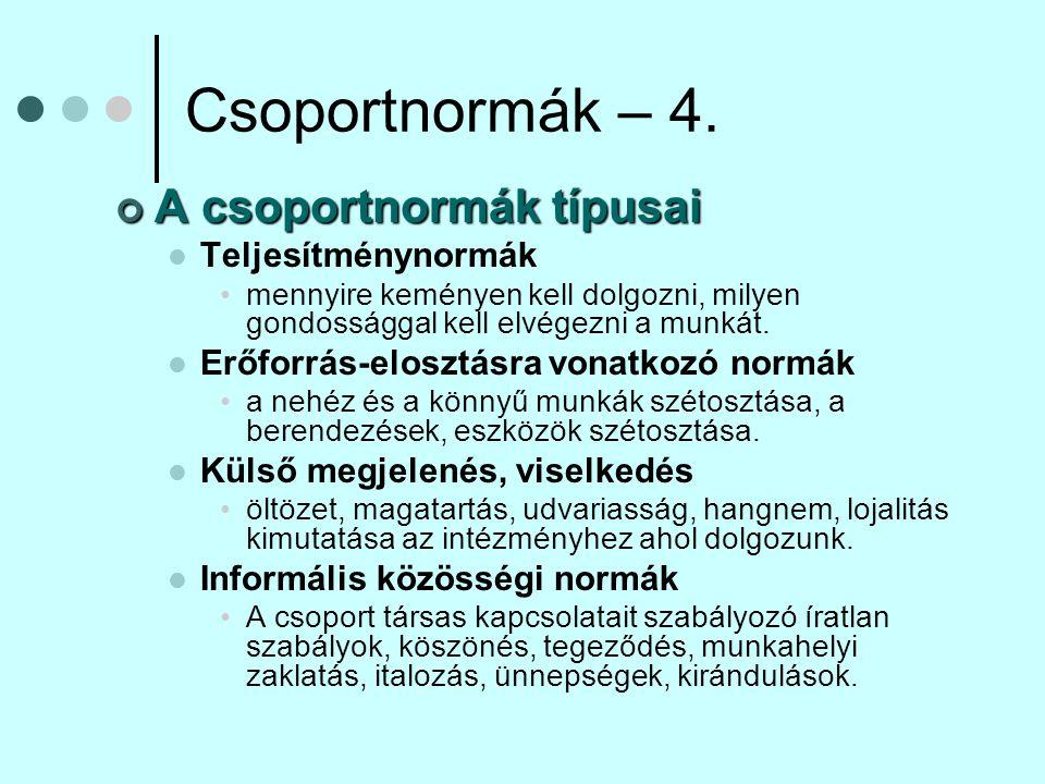 Csoportnormák – 4. A csoportnormák típusai Teljesítménynormák
