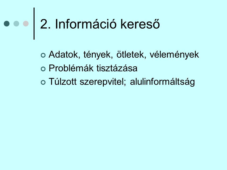 2. Információ kereső Adatok, tények, ötletek, vélemények
