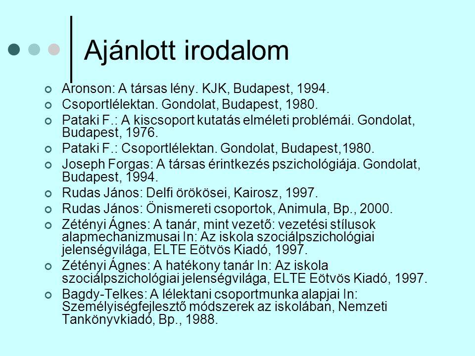 Ajánlott irodalom Aronson: A társas lény. KJK, Budapest, 1994.