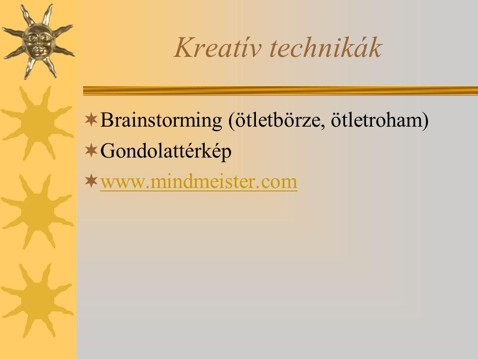 Kreatív technikák Brainstorming (ötletbörze, ötletroham)