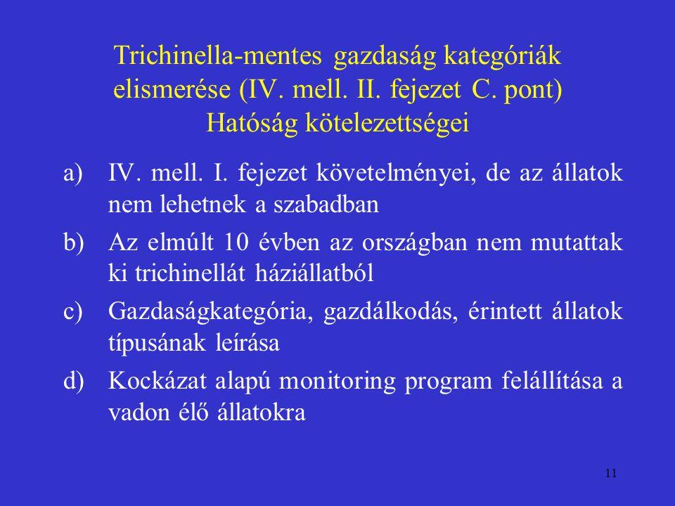 Trichinella-mentes gazdaság kategóriák elismerése (IV. mell. II