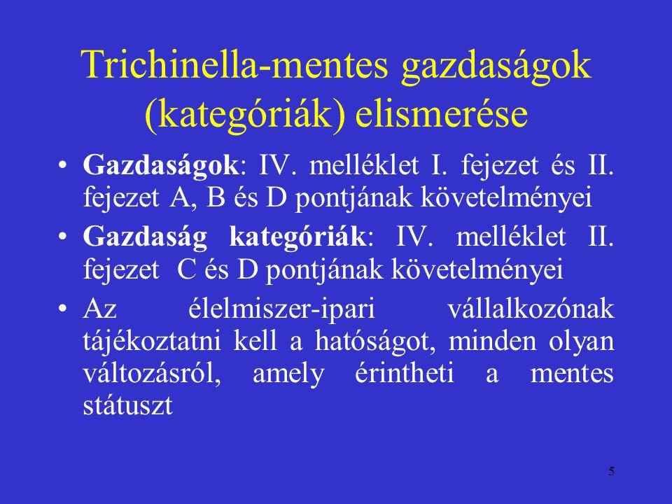 Trichinella-mentes gazdaságok (kategóriák) elismerése