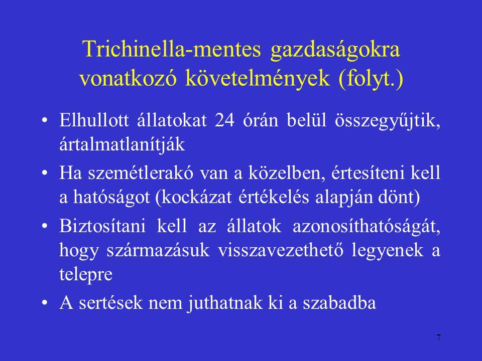 Trichinella-mentes gazdaságokra vonatkozó követelmények (folyt.)
