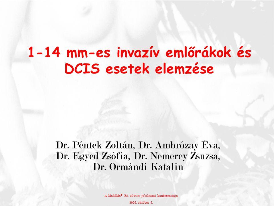 1-14 mm-es invazív emlőrákok és DCIS esetek elemzése