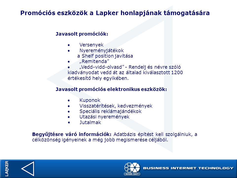 Promóciós eszközök a Lapker honlapjának támogatására