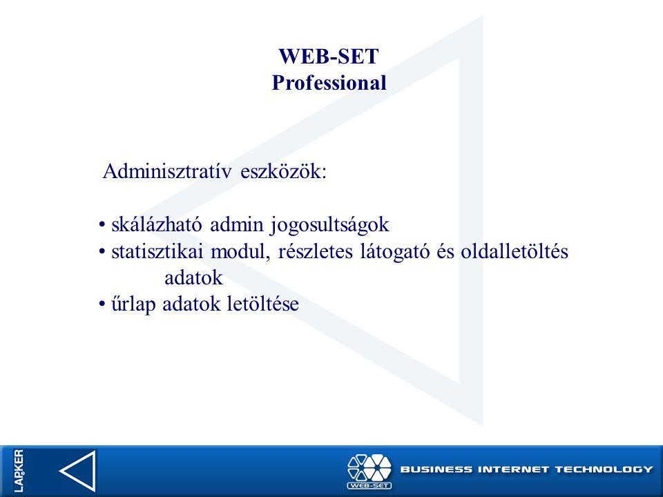 WEB-SET Professional. Adminisztratív eszközök: skálázható admin jogosultságok. statisztikai modul, részletes látogató és oldalletöltés adatok.