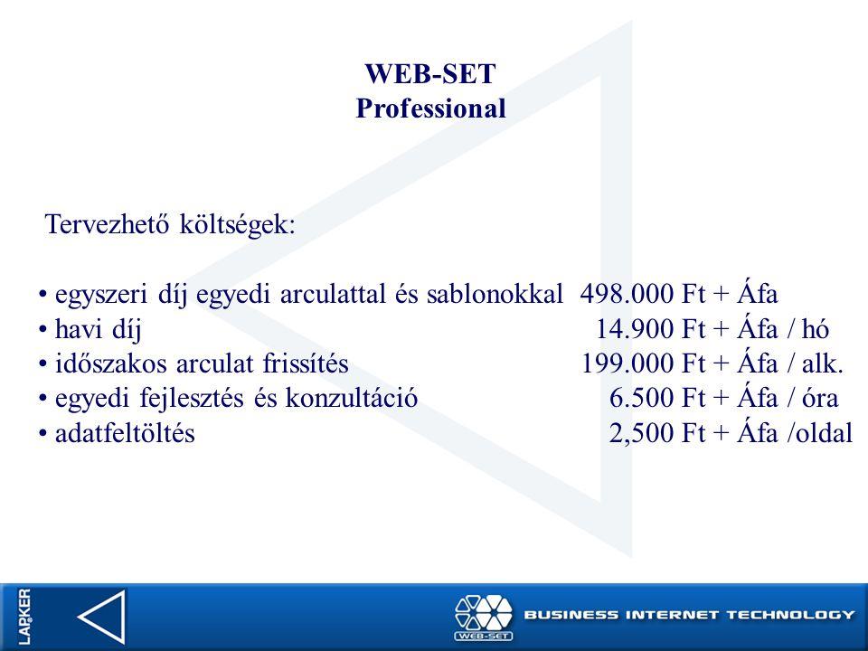 WEB-SET Professional. Tervezhető költségek: egyszeri díj egyedi arculattal és sablonokkal 498.000 Ft + Áfa.