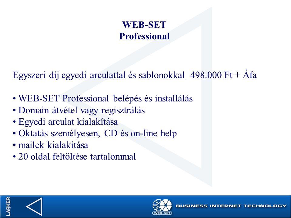 WEB-SET Professional. Egyszeri díj egyedi arculattal és sablonokkal 498.000 Ft + Áfa. WEB-SET Professional belépés és installálás.
