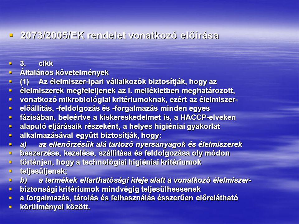 2073/2005/EK rendelet vonatkozó előírása