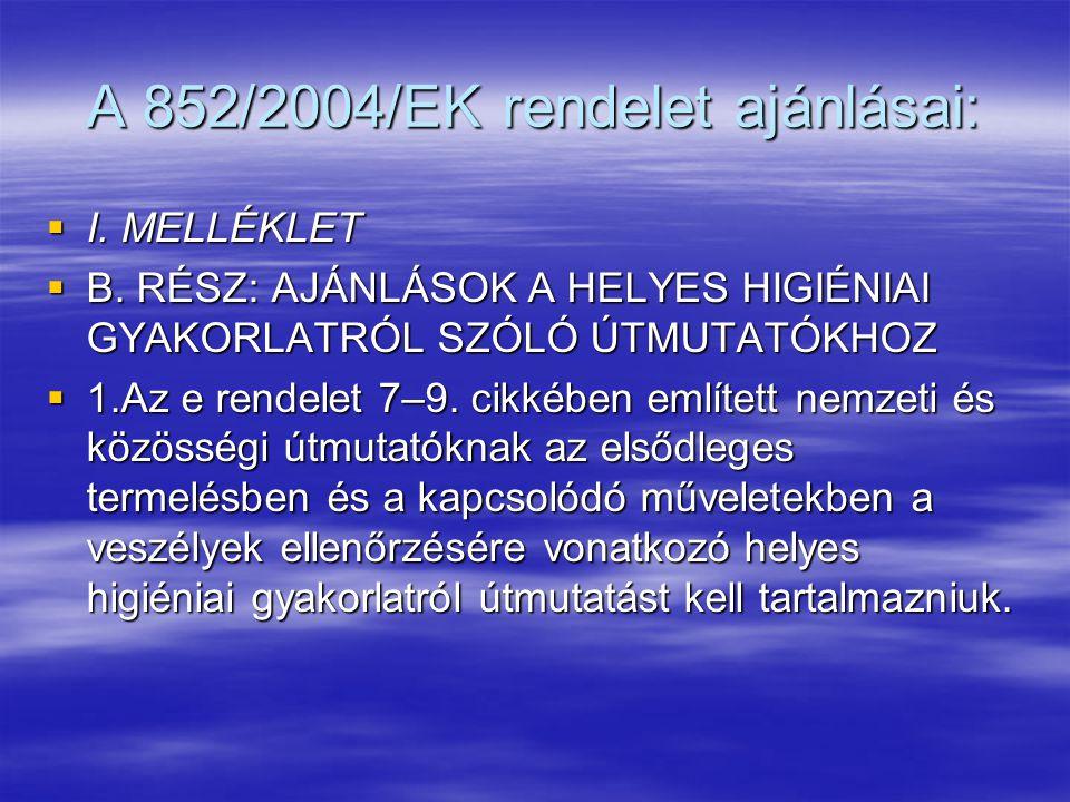 A 852/2004/EK rendelet ajánlásai: