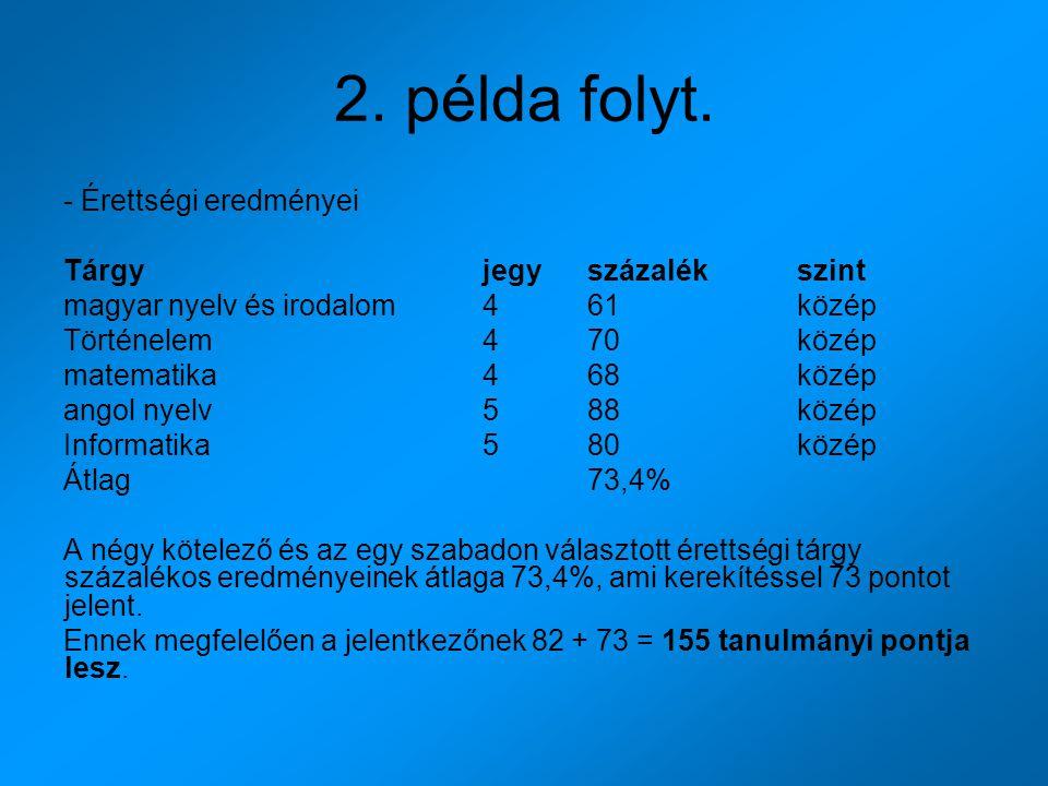2. példa folyt. - Érettségi eredményei Tárgy jegy százalék szint