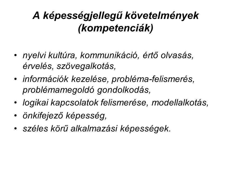 A képességjellegű követelmények (kompetenciák)