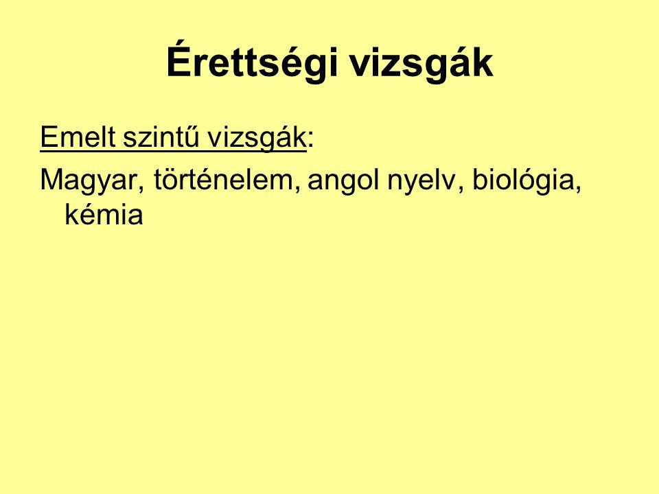 Érettségi vizsgák Emelt szintű vizsgák: