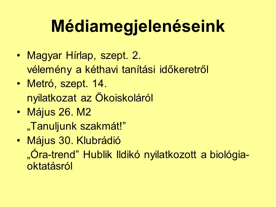 Médiamegjelenéseink Magyar Hírlap, szept. 2.