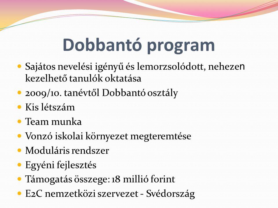 Dobbantó program Sajátos nevelési igényű és lemorzsolódott, nehezen kezelhető tanulók oktatása. 2009/10. tanévtől Dobbantó osztály.