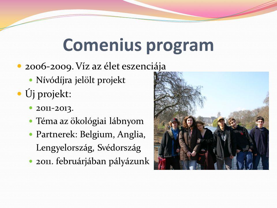 Comenius program 2006-2009. Víz az élet eszenciája Új projekt: