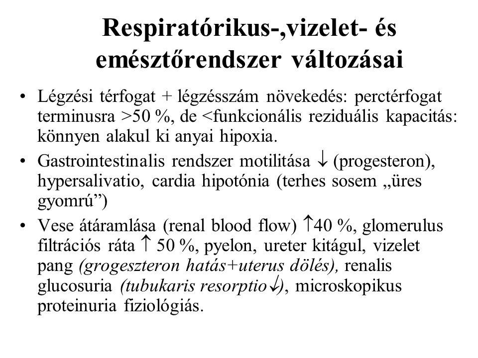 Respiratórikus-,vizelet- és emésztőrendszer változásai