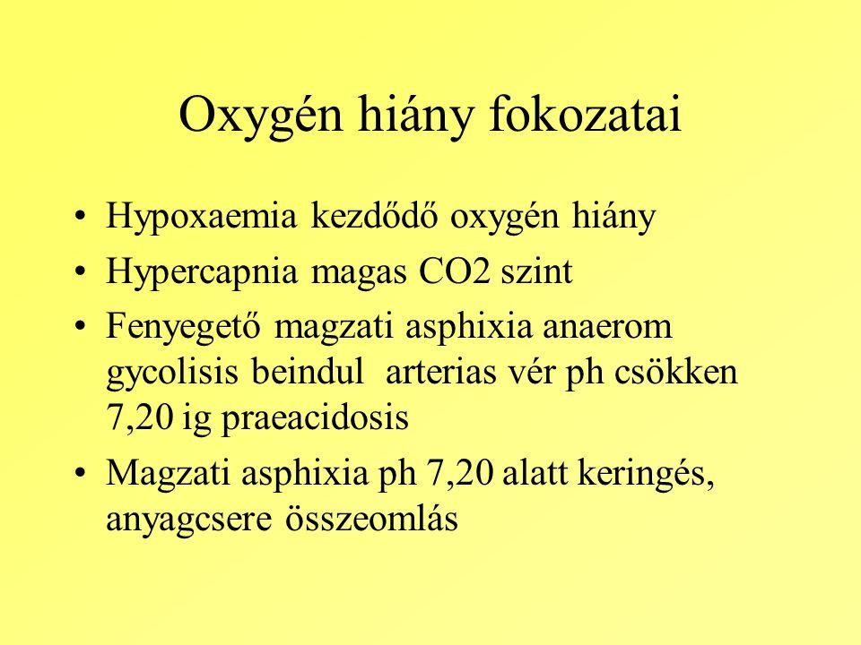 Oxygén hiány fokozatai