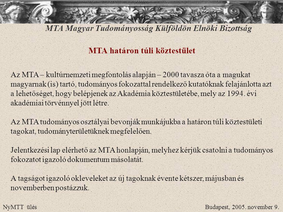 MTA Magyar Tudományosság Külföldön Elnöki Bizottság