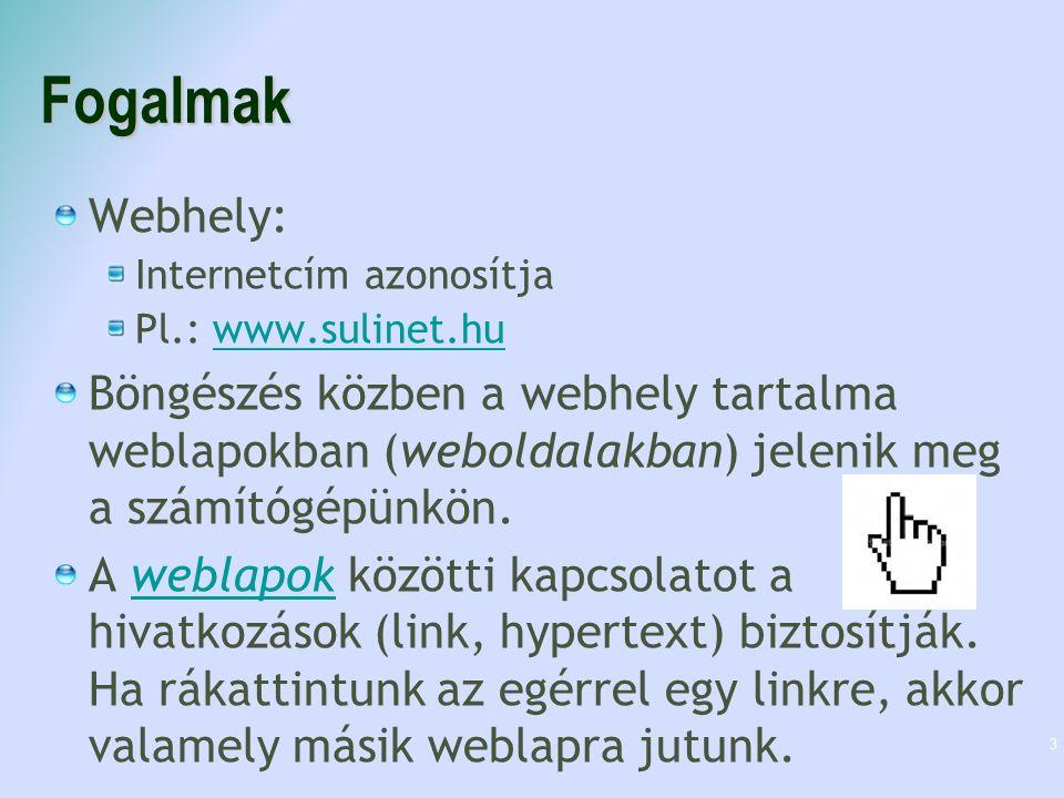 Fogalmak Webhely: Internetcím azonosítja. Pl.: www.sulinet.hu.
