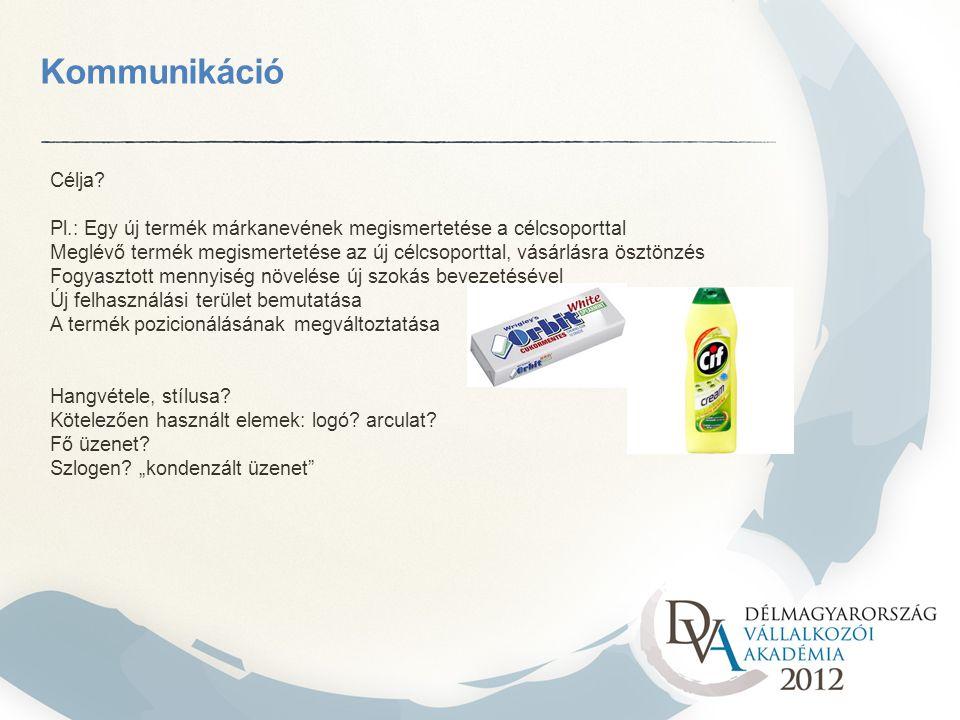 Kommunikáció Célja Pl.: Egy új termék márkanevének megismertetése a célcsoporttal.