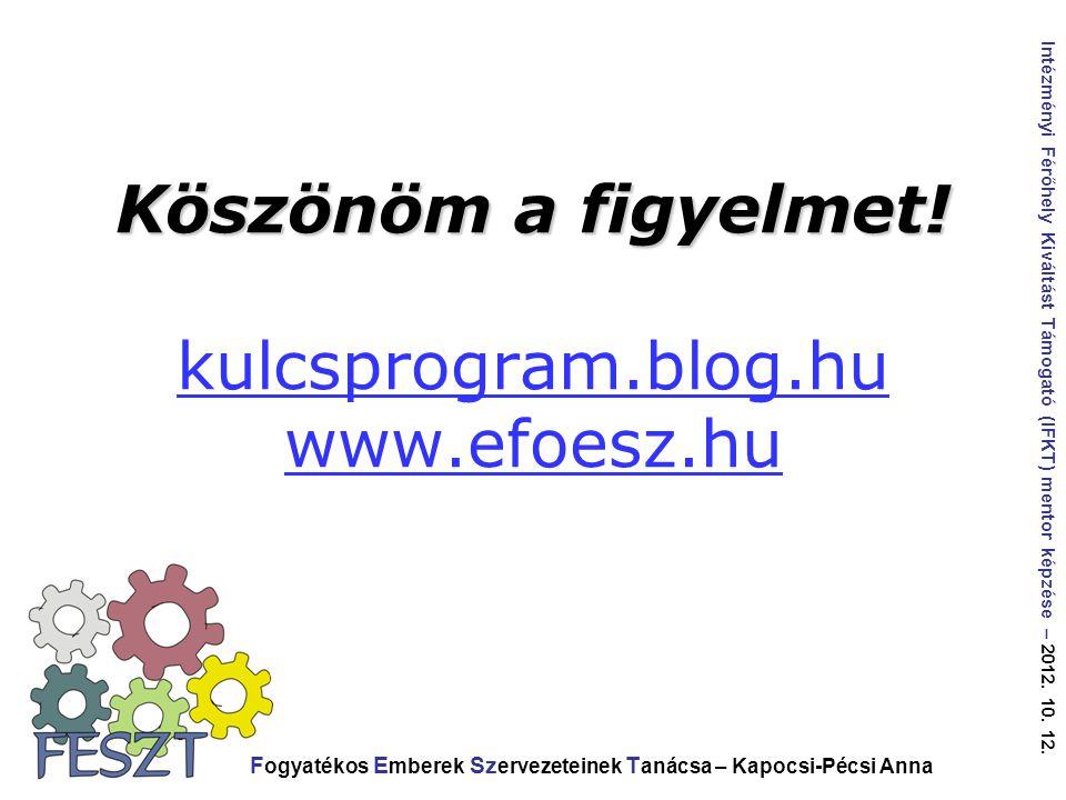 Köszönöm a figyelmet! kulcsprogram.blog.hu www.efoesz.hu