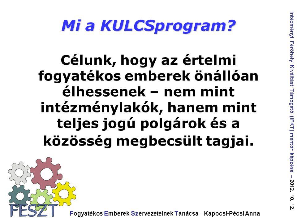 Mi a KULCSprogram Célunk, hogy az értelmi fogyatékos emberek önállóan élhessenek – nem mint intézménylakók, hanem mint teljes jogú polgárok és a közösség megbecsült tagjai.
