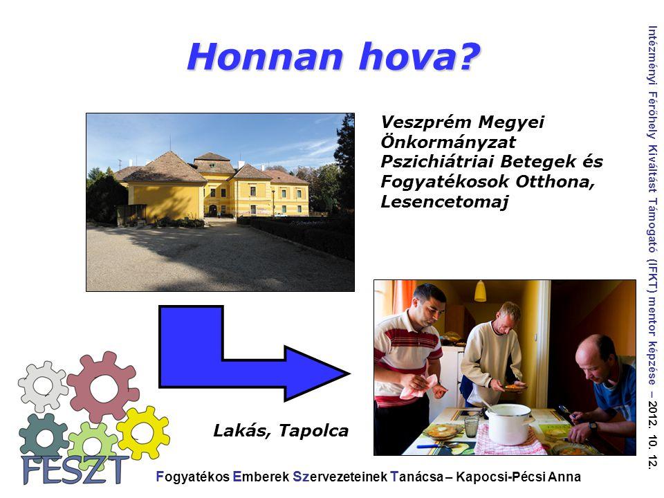 Honnan hova Veszprém Megyei Önkormányzat Pszichiátriai Betegek és Fogyatékosok Otthona, Lesencetomaj.