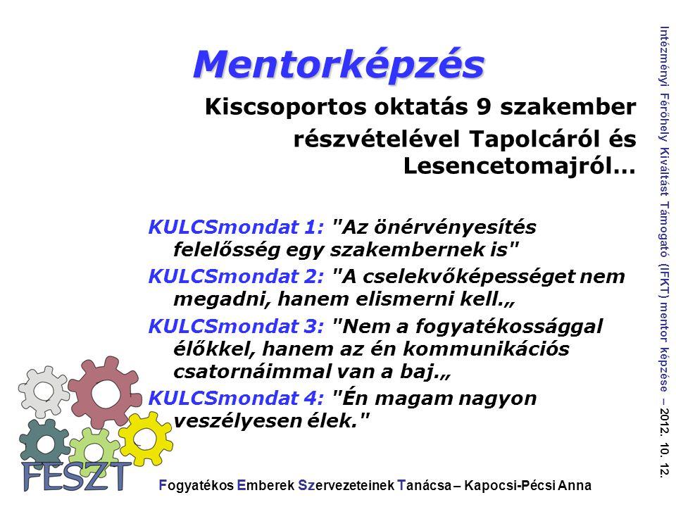 Mentorképzés Kiscsoportos oktatás 9 szakember