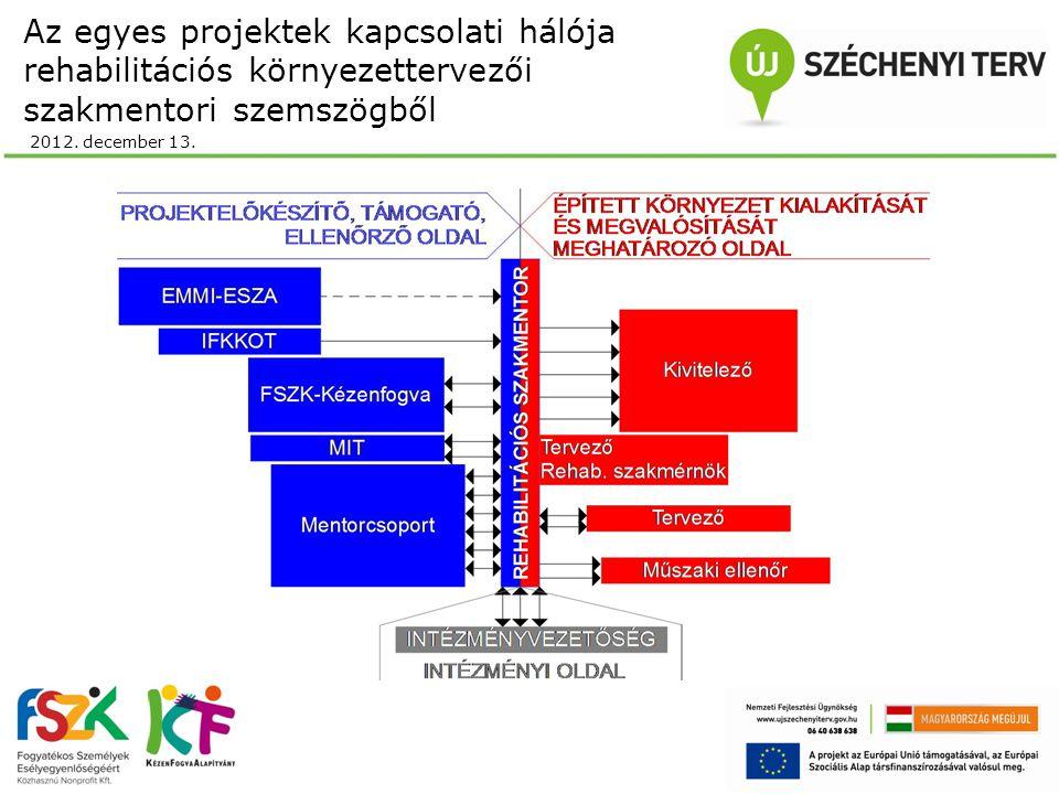 Az egyes projektek kapcsolati hálója rehabilitációs környezettervezői szakmentori szemszögből 2012.