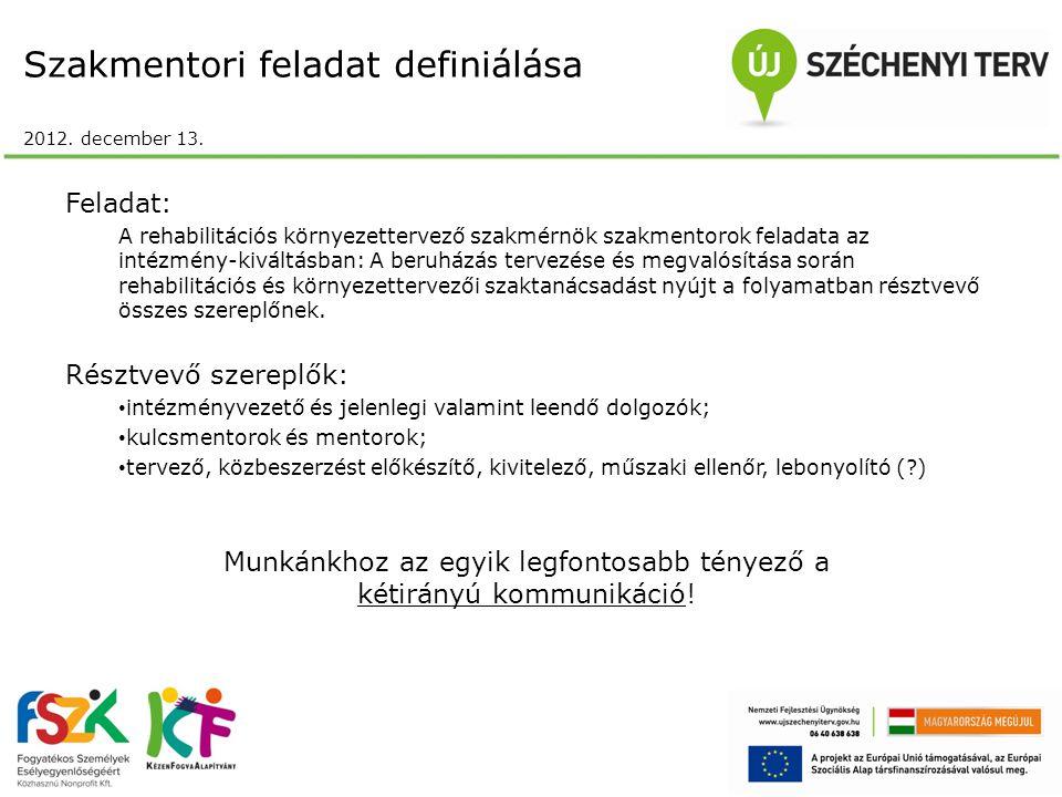 Szakmentori feladat definiálása 2012. december 13.