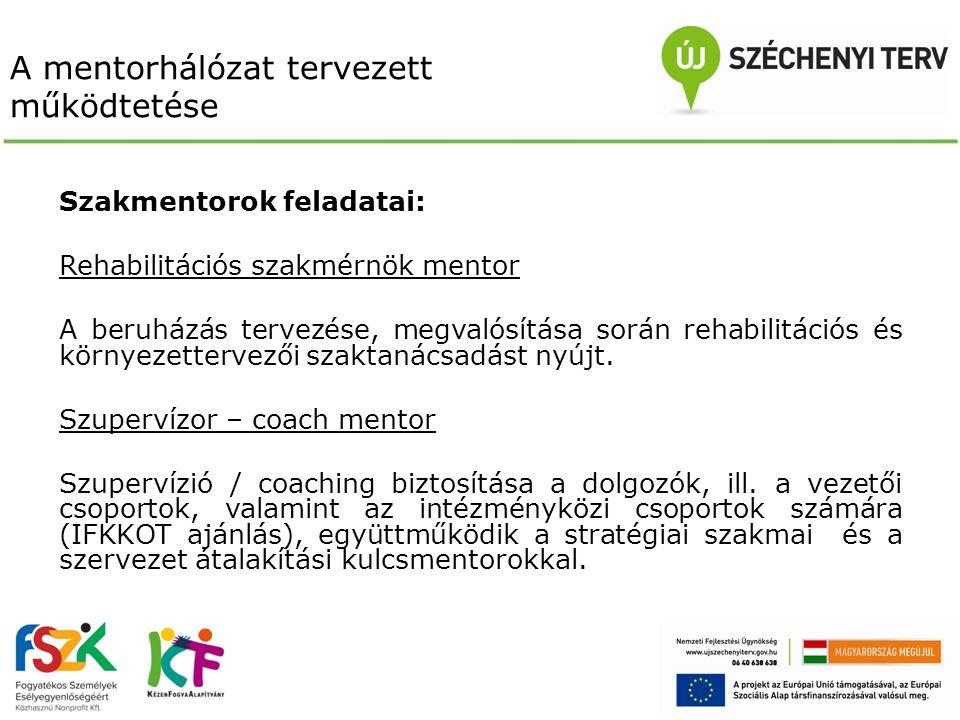 A mentorhálózat tervezett működtetése