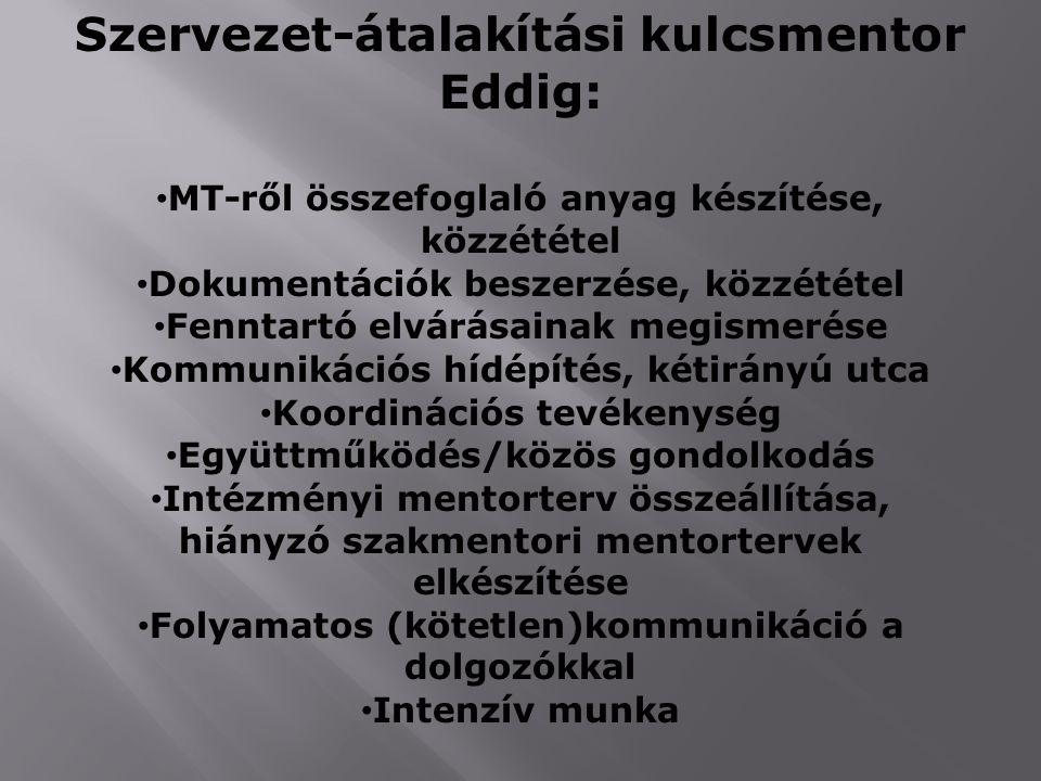 Szervezet-átalakítási kulcsmentor Eddig: