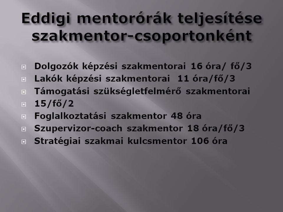 Eddigi mentorórák teljesítése szakmentor-csoportonként