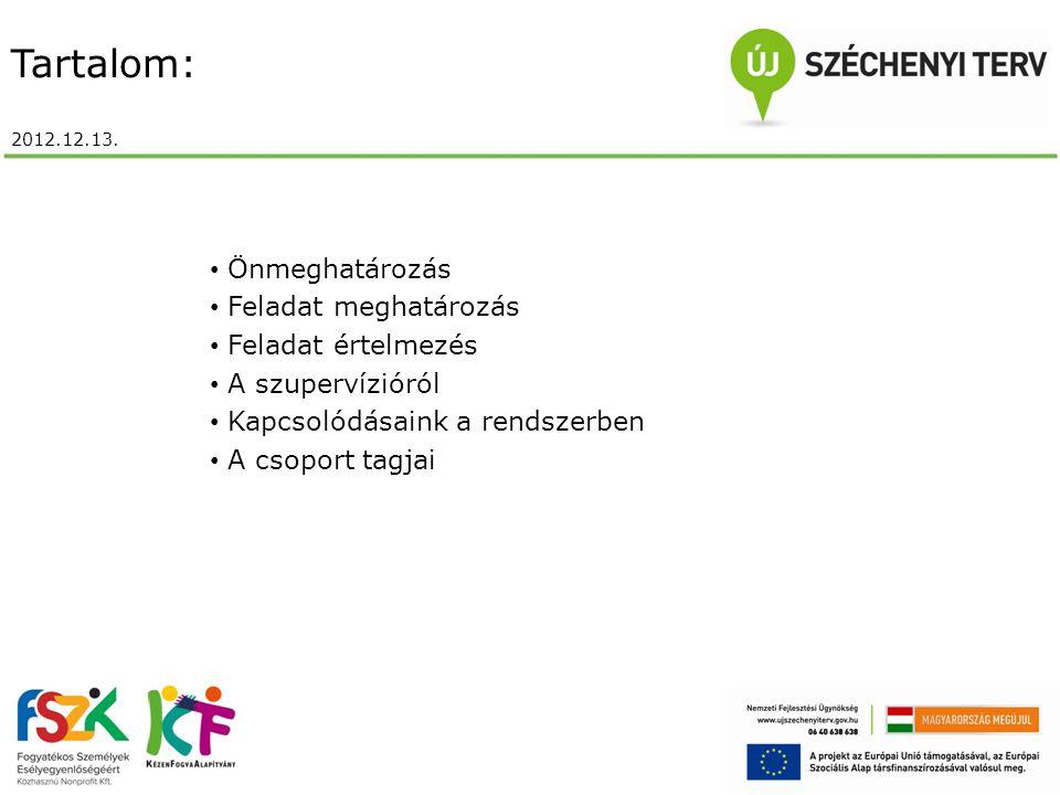 Tartalom: 2012.12.13. Önmeghatározás Feladat meghatározás