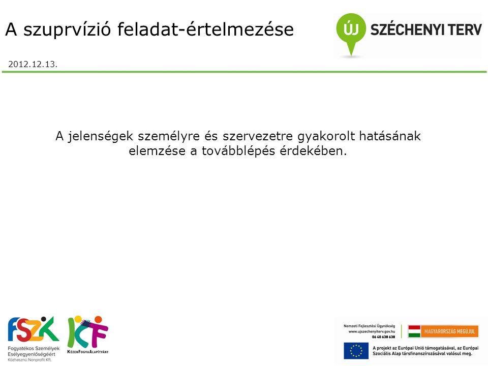 A szuprvízió feladat-értelmezése 2012.12.13.