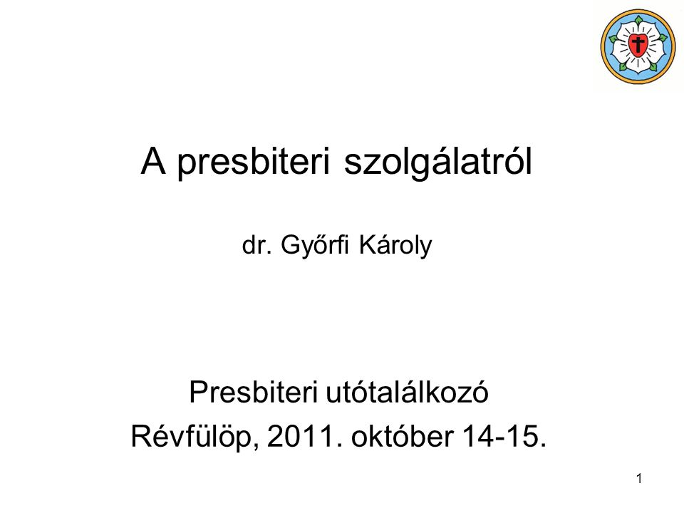 A presbiteri szolgálatról dr. Győrfi Károly