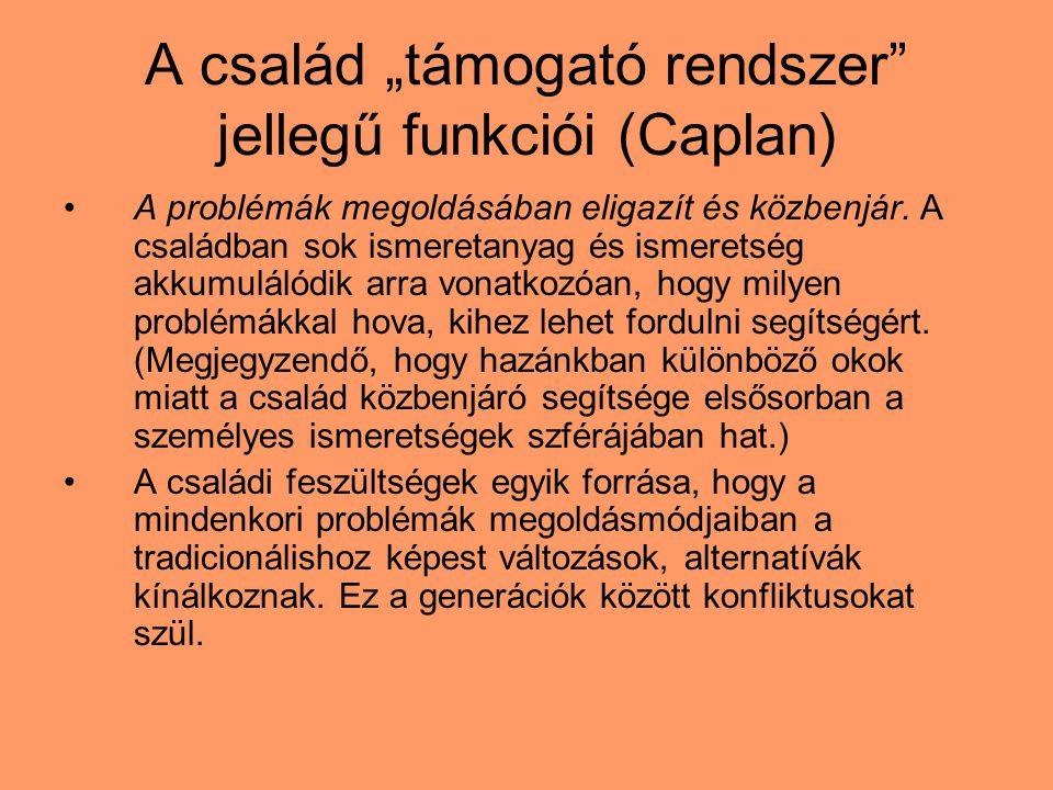 """A család """"támogató rendszer jellegű funkciói (Caplan)"""