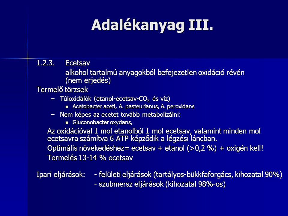 Adalékanyag III. 1.2.3. Ecetsav