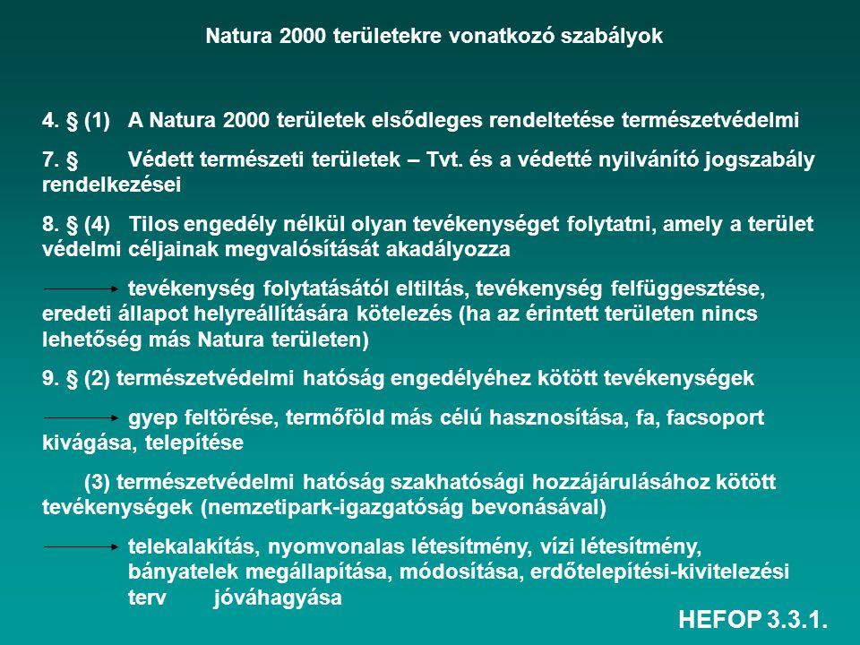 Natura 2000 területekre vonatkozó szabályok