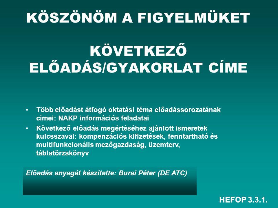 KÖSZÖNÖM A FIGYELMÜKET KÖVETKEZŐ ELŐADÁS/GYAKORLAT CÍME
